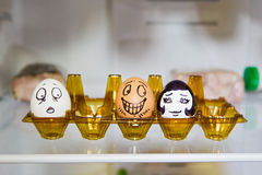 Painted eggs in the fridge Royalty Free Stock Image