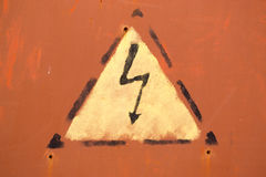 Painted Electric Shock Warning Sign Royalty Free Stock Photos