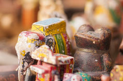 Painted Elephant and Frog Figurines for Sale as Indian Souvenirs Stock Photography