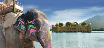 Painted elephant and Jal water palace Stock Photo