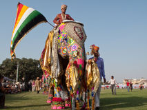 Painted Elephants on Parade Stock Images
