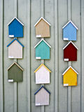 Painted examples for wooden houses Royalty Free Stock Photos