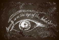 Painted eye  with hand drown inscription. Royalty Free Stock Photography