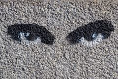painted graffiti on the wall of the eye Ukraine Kiev 06.11.2018 royalty free stock photos