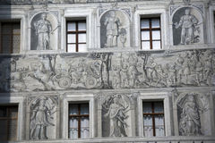Painted facade. In the castle of ambras Royalty Free Stock Photos