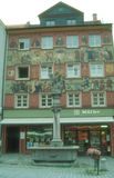 Painted facade of Medieval building in Isny Royalty Free Stock Photo