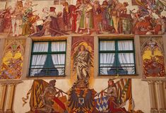 Painted facade of Medieval building in Konstanz. Germany Royalty Free Stock Images