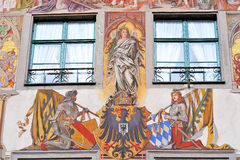 Painted facade of Medieval building in Konstanz Royalty Free Stock Image