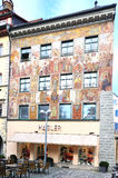 Painted facade of Medieval building in Konstanz Stock Photo