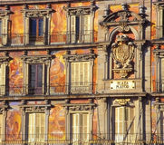 Painted facade of the Plaza Mayor, Madrid Stock Photos