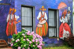 Painted facade of Visual Artists Association building in Colonia del Sacramento, Uruguay. It is one of the oldest towns in Uruguay royalty free stock images