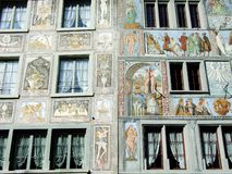 Painted facades or Bemalte Fassaden, Stein am Rhein stock photo
