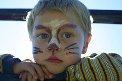 Painted face. Childrens Painted Faces Stock Photo