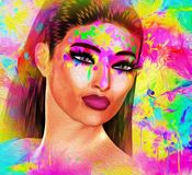 Painted face, abstract art with oil paint effect. A rainbow of colors come together to create this artistic beauty, fashion and hairstyle scene. Our unique 3d royalty free illustration
