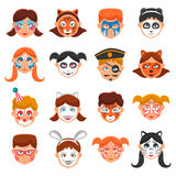 Painted Faces Icons Set Royalty Free Stock Image