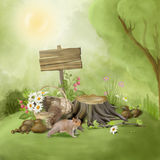 Painted fairy-tale scene about a walk in a forest. Fairy-tale scene about a walk on a forest glade stock illustration