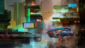 Painted fantastic bright city evening landscape with spaceship. Art fantastic bright city evening landscape with spaceship vector illustration