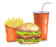 Painted fast food. Royalty Free Stock Image