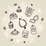 Painted female tricks. Beads, comb, mirror, powder, candle, bath salt, capkake, cosmetics. Vector illustration on a beige backgrou. Vector illustration on a Royalty Free Stock Photography