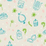 Painted female tricks. Beads, comb, mirror, powder, candle, bath salt, cupcake, cosmetics. Vector pattern. Seamless vector pattern on a beige background, plants royalty free illustration