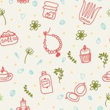 Painted female tricks. Beads, comb, mirror, powder, candle, bath salt, cupcake, cosmetics. Vector pattern. Seamless vector pattern on a beige background, plants Stock Photography