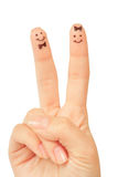Painted finger smiley Royalty Free Stock Photography