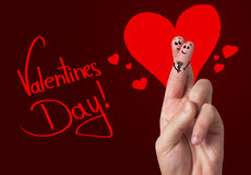 Painted finger smiley, valentine's day Stock Photos