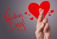 Painted finger smiley, valentine's day. Theme Royalty Free Stock Image