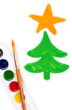 Painted fir tree and watercolor. Set Royalty Free Stock Photography