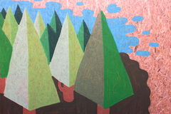 Painted firs on fiberboard panel Stock Photos