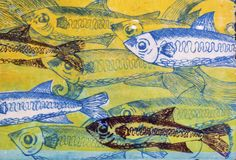 Painted fish background. Art background with painted blue fish Stock Photography