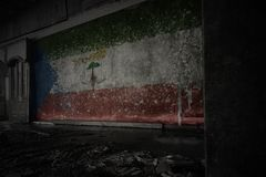 Painted flag of equatorial guinea on the dirty old wall in an abandoned ruined house. Concept stock images