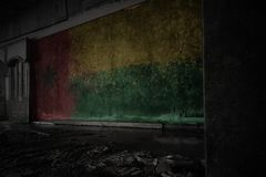 Painted flag of guinea bissau on the dirty old wall in an abandoned ruined house. Concept stock images