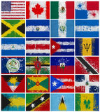 Painted Flags of  North America Stock Photo