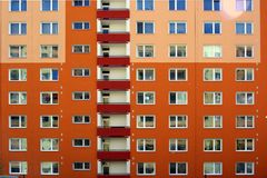 Painted flame-colored building Royalty Free Stock Photography