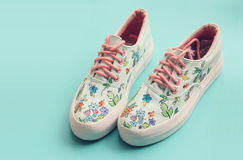 Painted Floral Canvas Shoes. Hand Painted Floral Platform Canvas Women Shoes Royalty Free Stock Photography