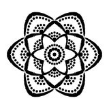 Painted Flower Dots Mandala Royalty Free Stock Image