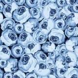 Painted flower seamless pattern with blue roses Stock Image