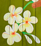 Painted flower on wood royalty free stock images