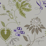 Painted flowers on a gray background, seamless pattern Royalty Free Stock Photos
