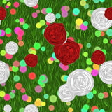 Painted flowers on green meadow Stock Photography