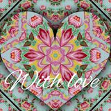 Painted with flowers love heart card. Background painted with flowers love heart card Stock Photos