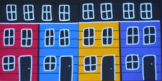 Painted Folk Art Pictures Of Houses Stock Photos