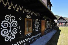 Painted Folk Cottage. The idyllic painted folk cottage in Cicmany village Royalty Free Stock Photography