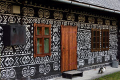 Painted Folk House. The painted folk wooden house in Cicmany village - Slovakia Stock Photo