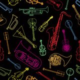 Musical instruments drawn in the form of a pattern. Painted in the form of a pattern of musical instruments Royalty Free Stock Photo