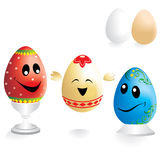 Easter Eggs. Painted funny easter eggs on white background stock illustration