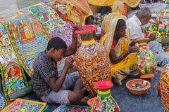 Painted furntures , Indian handicrafts fair at Kolkata Stock Photography