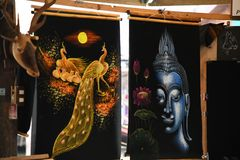Painted gallery photographs at pattaya floating market. Buddha painted photographs at pattaya floating market stock photography