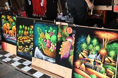 Painted gallery photographs at pattaya floating market. Elephant and green trees painted photographs at pattaya floating market royalty free stock image